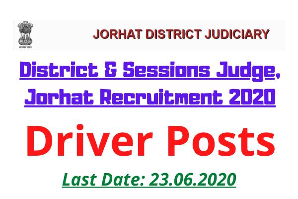 DSJ Jorhat Recruitment 2020: Apply For Driver Posts