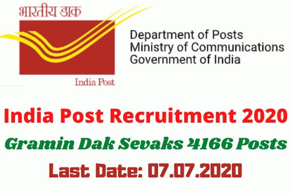 India Post Recruitment 2020: Apply Online For Gramin Dak Sevaks 4166 Posts