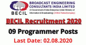 BECIL Ltd Recruitment 2020: Apply For Programmer 09 Posts