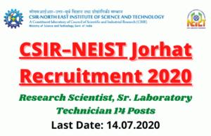 CSIR–NEIST Jorhat Recruitment 2020: Apply For Research Scientist, Sr. Laboratory Technician 14 Posts