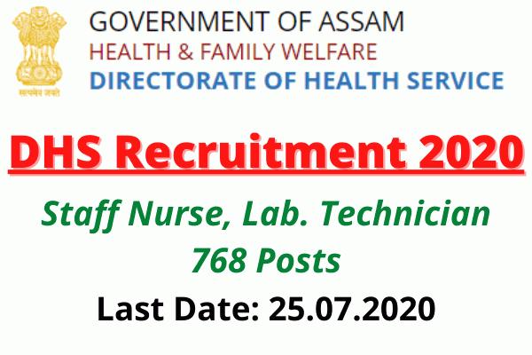DHS Recruitment 2020: Staff Nurse, Lab. Technician 768 Posts