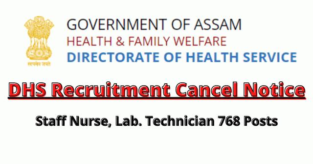 DHS Recruitment Cancel Notice For Staff Nurse, Lab. Technician 768 Posts