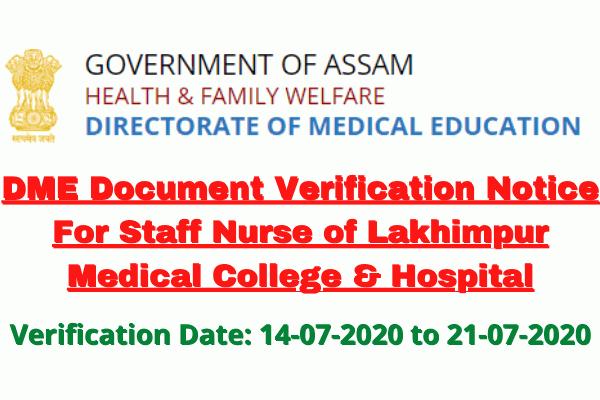 DME Document Verification Notice For Staff Nurse of Lakhimpur Medical College & Hospital