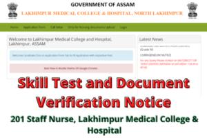 Skill Test and Document Verification Notice for 201 Staff Nurse, Lakhimpur Medical College & Hospital