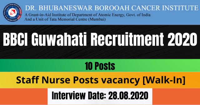 BBCI Guwahati Recruitment 2020: 10 Staff Nurse Posts vacancy [Walk-In]