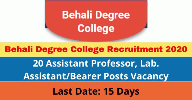 Behali Degree College Recruitment 2020: Apply For 20 Assistant Professor, Lab. Assistant/Bearer Posts Vacancy