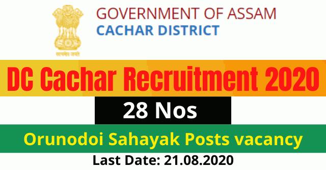 DC Cachar Recruitment 2020: Apply Online For 28 Orunodoi Sahayak Posts vacancy