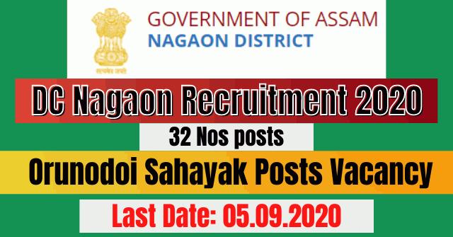 DC Nagaon Recruitment 2020: Apply For 32 Orunodoi Sahayak Posts Vacancy
