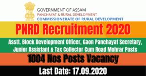 PNRD Recruitment 2020: Apply Online For 1004 Asstt. BDO, Gaon Panchayat Secretary Other Posts Vacancy