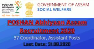 POSHAN Abhiyaan Assam Recruitment 2020: Apply For 37 Coordinator, Assistant Posts