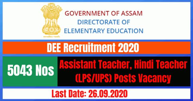 DEE Recruitment 2020: Apply Online For 5043 Assistant Teacher, Hindi Teacher (LPS/UPS) Posts Vacancy