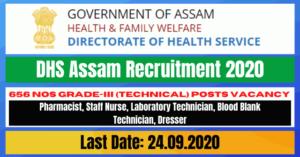 DHS Assam Recruitment 2020: Apply For Online 656 Grade-III (Technical) Posts Vacancy