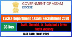 Excise Department Assam Recruitment 2020: Apply Online For 36 Asstt. Chemist, Jr. Assistant & Driver Posts Vacancy