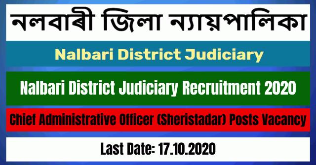 Nalbari District Judiciary Recruitment 2020: Apply For Chief Administrative Officer (Sheristadar) Posts Vacancy