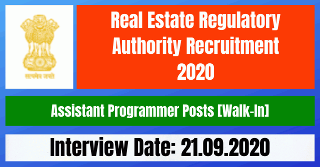 Real Estate Regulatory Authority Recruitment 2020: Assistant Programmer Posts [Walk-In]