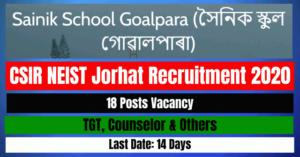 Sainik School Goalpara Recruitment 2020: Apply For TGT, Counselor & Others 18 Posts Vacancy