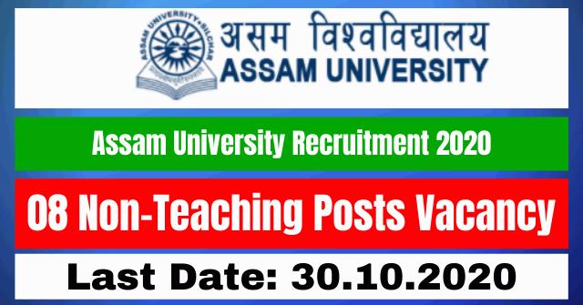 Assam University Recruitment 2020: Apply Online For 08 Non-Teaching Posts Vacancy