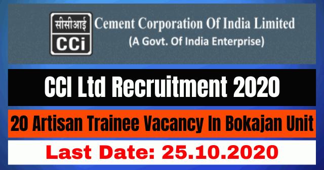 CCI Ltd Recruitment 2020: Apply Online For 20 Artisan Trainee Vacancy In Bokajan Unit