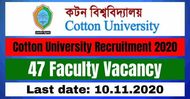 Cotton University Recruitment 2020: Apply For 47 Faculty Vacancy
