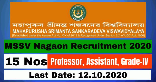 MSSV Nagaon Recruitment 2020: Apply For Professor, Assistant, Grade-IV 15 Posts Vacancy