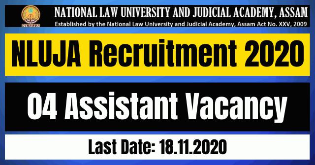 NLUJA Recruitment 2020: Apply For 04 Assistant Vacancy