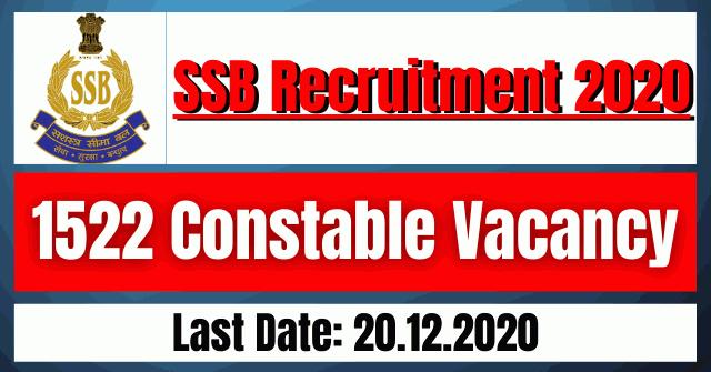 SSB Recruitment 2020: 1522 Constable Vacancy