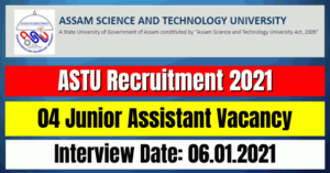 ASTU Recruitment 2021: 04 Junior Assistant Vacancy