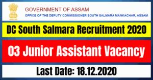 DC South Salmara Recruitment 2020: 03 Junior Assistant Vacancy