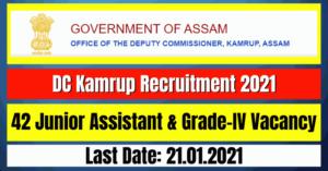 DC Kamrup Recruitment 2021: 42 Junior Assistant & Grade-IV Vacancy