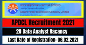 APDCL Recruitment 2021: 20 Data Analyst Vacancy