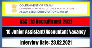 ASC Ltd Recruitment 2021: 10 Junior Assistant/Accountant Vacancy