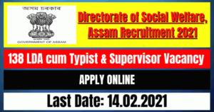Social Welfare Recruitment 2021: 138 LDA cum Typist & Supervisor Vacancy