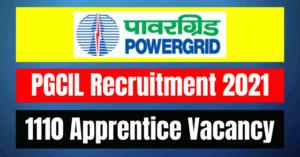 PGCIL Apprentice Recruitment 2021: 1110 Vacancy