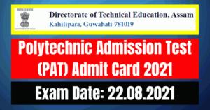 PAT Admit Card 2021: Polytechnic Admission Test 2021