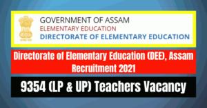 DEE Teachers Recruitment 2021: 9354 (LP & UP) Vacancy