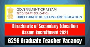 Secondary Education Teacher Recruitment 2021: 6296 Vacancy