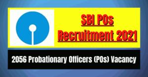 SBI POs Recruitment 2021: 2056 Vacancy